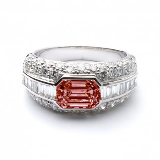 Burgundy Emerald Cut Diamond Ring