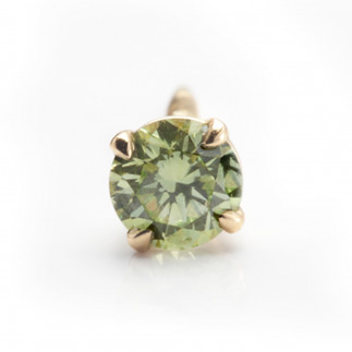 Yellowish Green Diamond Stud