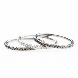 Black and White Diamond Eternity Rings