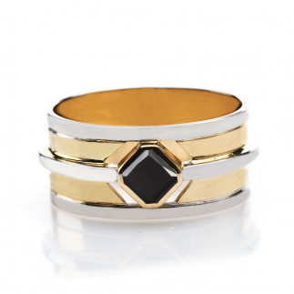 Multicolored Gold Men's Ring With a Radiant Black Diamond
