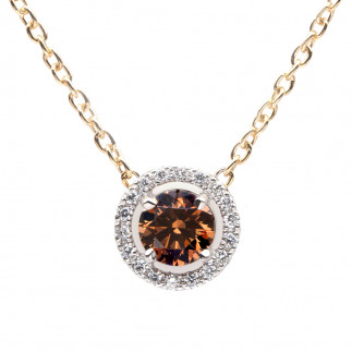 Chocolate Diamond Pendant with Halo