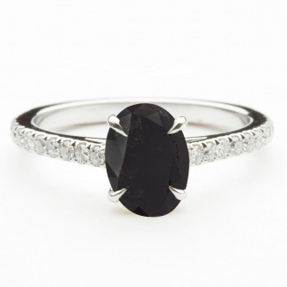 Oval Black Diamond Engagement Ring