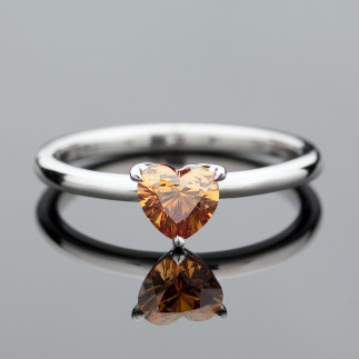 Cognac Diamond Solitaire Ring