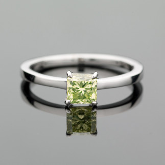 Princess Cut Lime Diamond Solitaire Ring