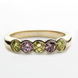 Yellow Gold Ring With Purple and Lime Diamonds