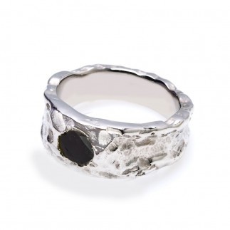 Rough Black Diamond Textured Ring