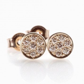 Champagne Pavé Diamond Disc Earrings