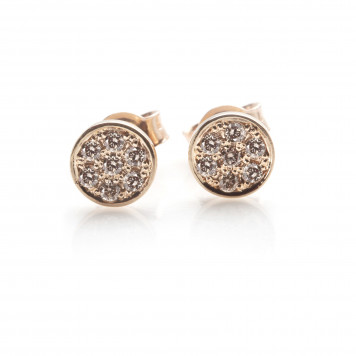 Chocolate Pavé Diamond Disc Earrings