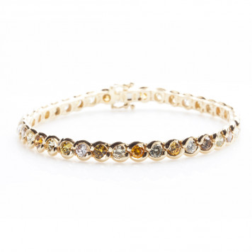 Yellow Gold Rainbow Bracelet With Natural Color Diamonds