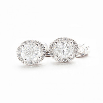 Oval White Diamond Earrings
