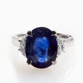 Sapphire and White Diamond Ring