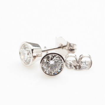 White Diamonds Set in Platinum Earrings