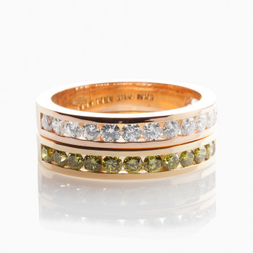 White and Olive Channel-set Diamond Rings