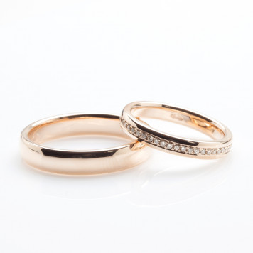 Pink Gold and Champagne Diamond Wedding Bands