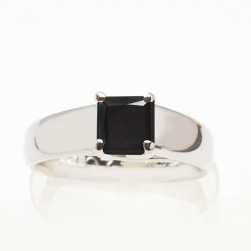 Solitaire Princess Cut Black Diamond Engagement Ring