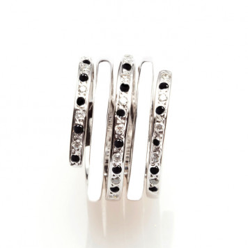 Black and White Diamond Ornamental Ring
