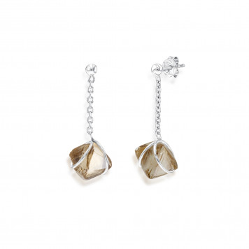 Brown Rough Diamond Drop Earrings