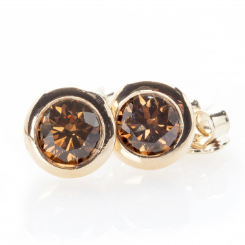 Chocolate Diamond Bezel Set Studs