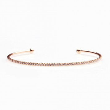 Pink Gold Cuff Bracelet with White Diamonds