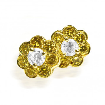 Flower Shaped Diamond Studs