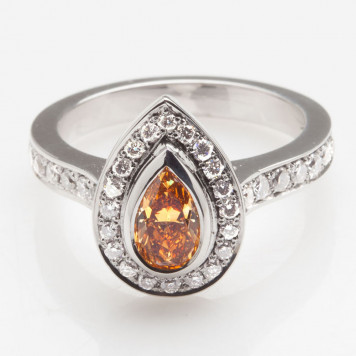 Orange and Gray Diamonds Ring