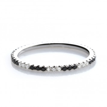 Mixed Black and White Diamond Eternity Ring