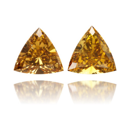 Natural Orange Diamond Triangle 0.64 ct Set