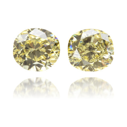 Natural Yellow Diamond Cushion 0.99 ct Set