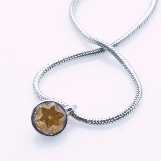 Natural Rough Cognac Diamond Pendant