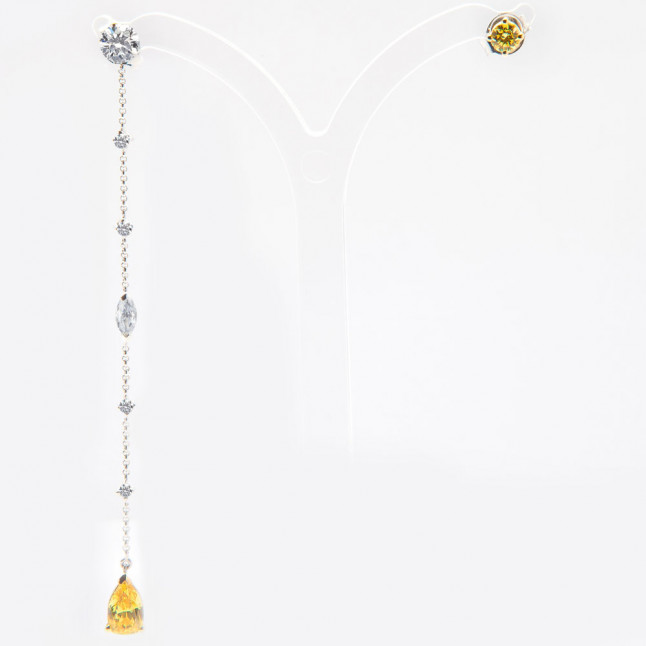 Assymetric Set of White and Vivid Yellow Diamond Earrings