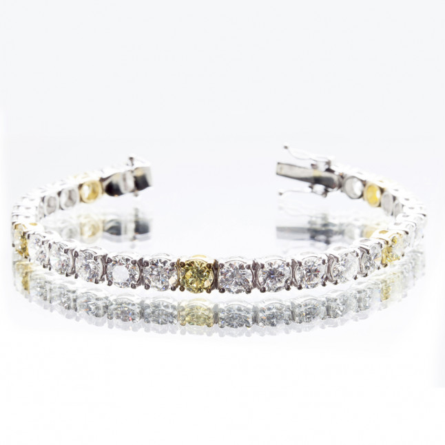 Yellow and White Diamond Tennis Bracelet