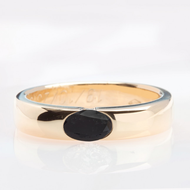 Oval Cut Black Diamond Wedding Band