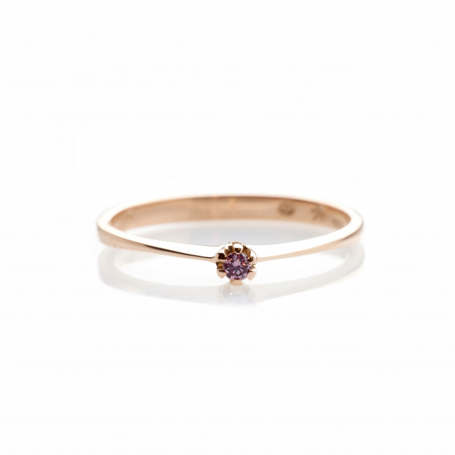 Raspberry Diamond Delicate Ring