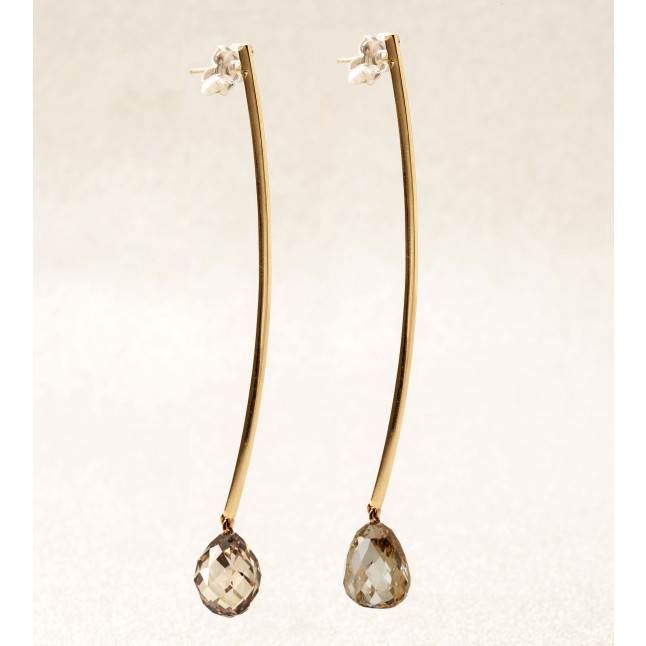 Fancy Brown Briolette Diamond Earrings