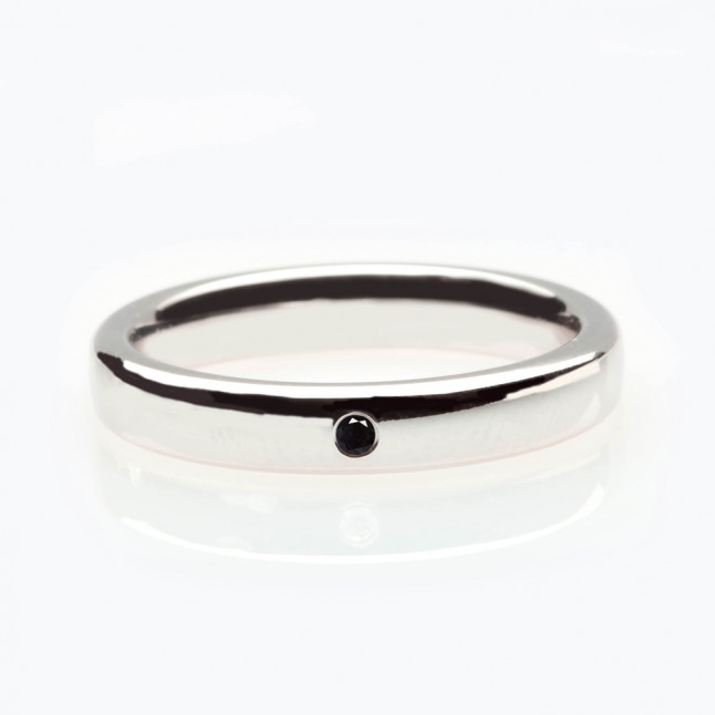 Small Round Black Diamond Wedding Ring