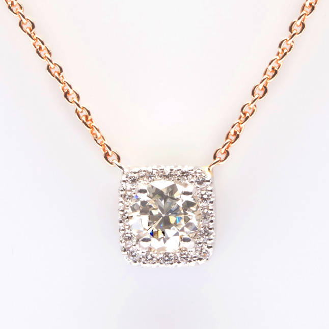 White Diamond with White Halo Pendant