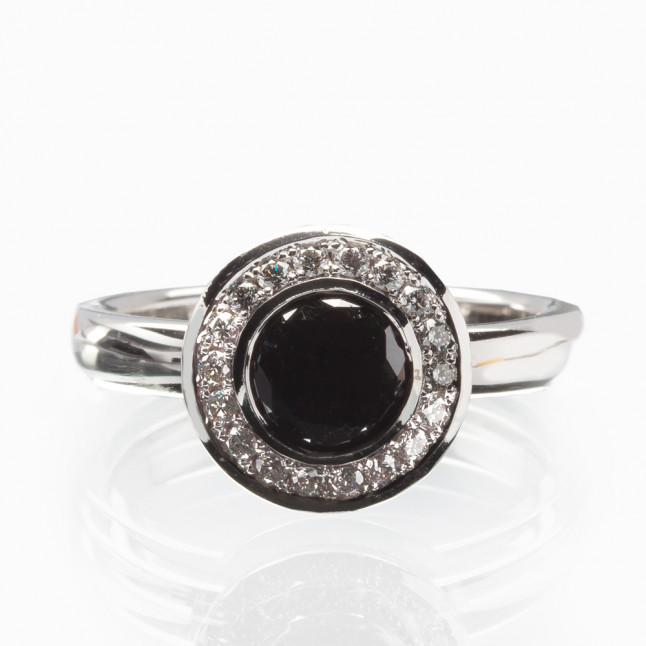 Black Diamond Engagement Ring with White Diamond Halo