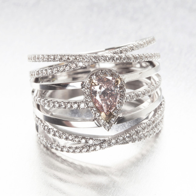 Spiral Pink Pear Diamond Ring