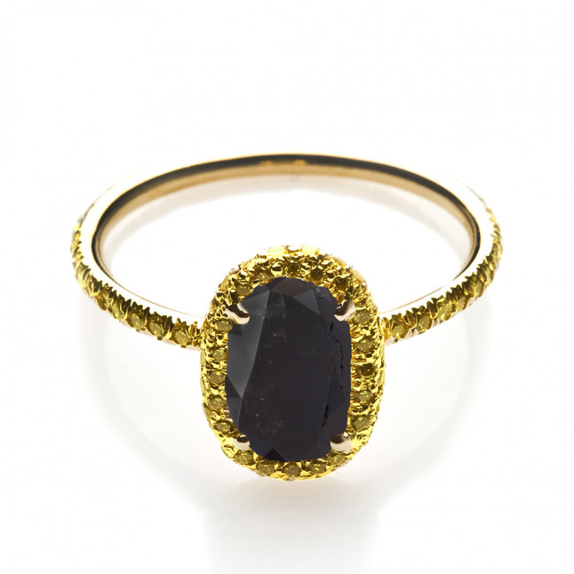 Black and Yellow Diamond Engagement Ring