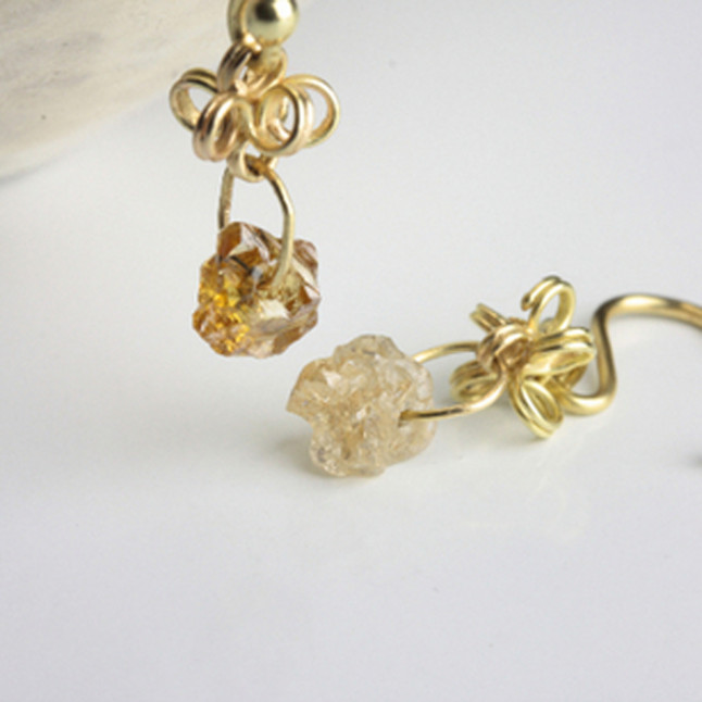Yellow Rough Diamonds Earrings