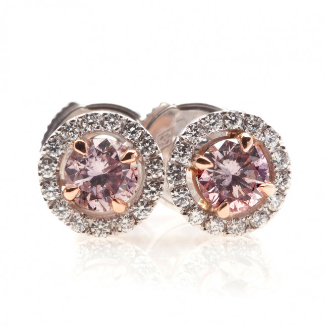 Pink Diamond Earrings with Halo