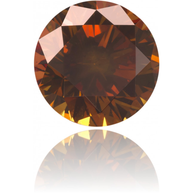 Natural Orange Diamond Round 0.91 ct Polished