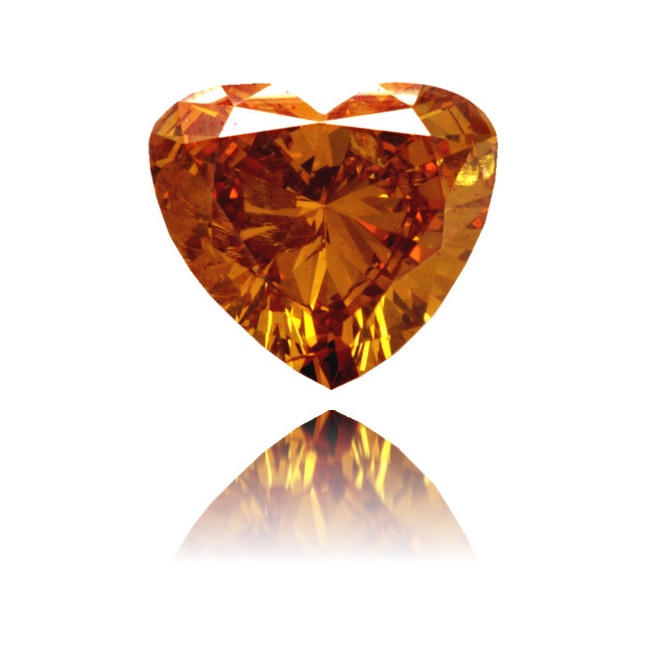 Natural Orange Diamond Heart Shape 1.46 ct Polished