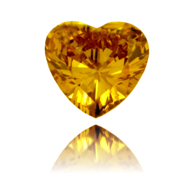 Natural Orange Diamond Heart Shape 0.31 ct Polished