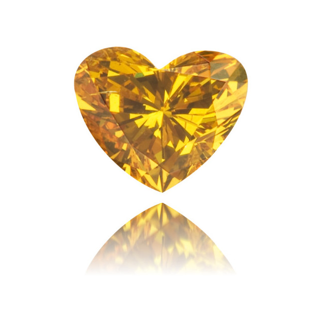 Natural Orange Diamond Heart Shape 0.34 ct Polished