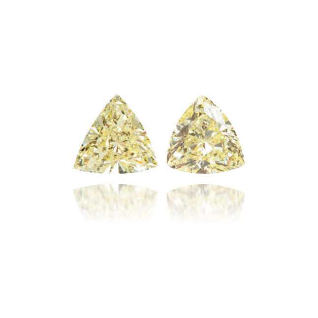 Natural Yellow Diamond Triangle 0.70 ct Set