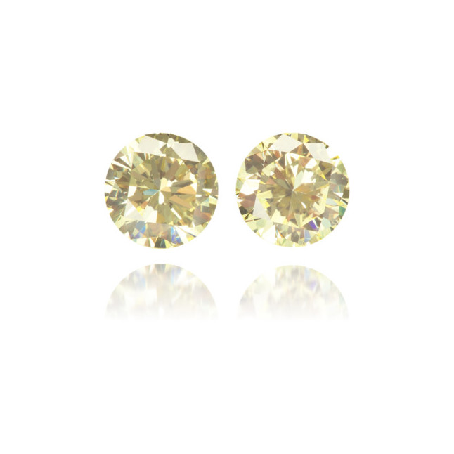 Natural Yellow Diamond Round 0.91 ct Set