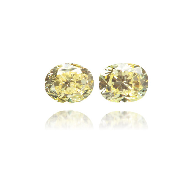 Natural Yellow Diamond Oval 0.39 ct Set