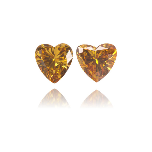 Natural Orange Diamond Heart Shape 0.48 ct Set