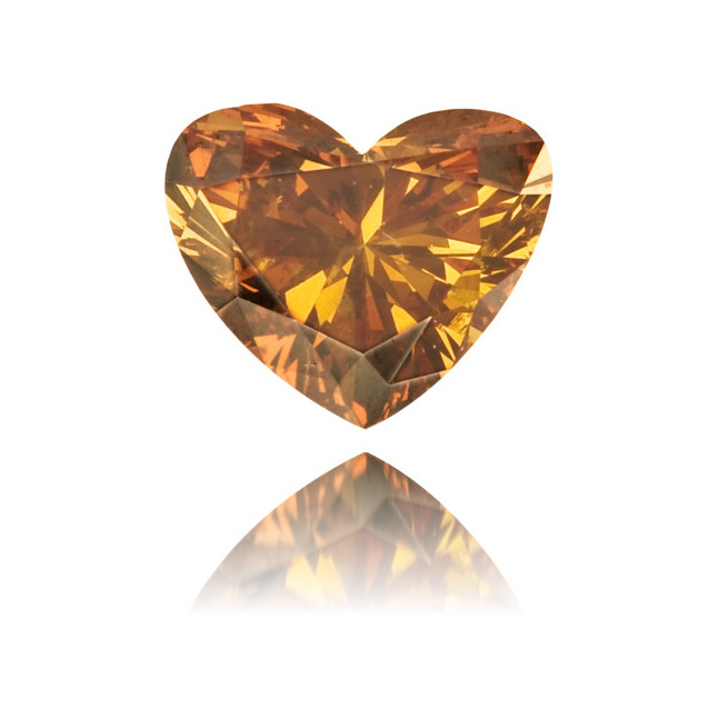 Natural Orange Diamond Heart Shape 0.32 ct Polished